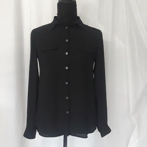Black Button Down Blouse by Loft - Extra Small